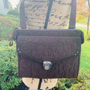 VERA BRADLEY Brown Microfiber Messenger Bag